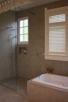 walls in cement? Bathroom Interior, Modern Bathroom, Small Bathroom, Dream Bathrooms, Beautiful Bathrooms, Open Showers, Tadelakt, New Toilet, Scandinavian Bathroom