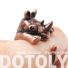 Realistic Rhinoceros Rhino Animal Wrap Ring in Copper - Sizes 5 to 10 $12.50 #rhino #animals #jewelry #rings #cute