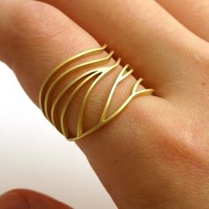 Gold dragonfly wing ring