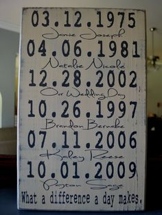 Important Dates Wood Sign Anniversary Gift Family Dates What a Difference a Day Makes! So cute for after kids, have seen before too with birth days, first met/kiss/anniversary, proposal, wedding, etc. @ Home Improvement Ideas