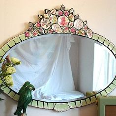 I LUV this beautiful mosiac mirror.Mosiac mirror instead of frame in fireplace roomMosiac mirror with broken china!Boudoir Rose Mosaic Mirror by Anna Tilson. Love the vintagy, romantic style of…Mosiac mirror, another easy DIY idea Mirror Mosaic, Mosaic Art, Mosaic Glass, Mosaic Tiles, Stained Glass, Glass Art, Mosaics, Tiling, Mirror Mirror