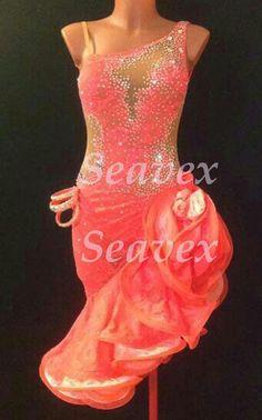 Ballroom Cha Cha Latin Samba Ramba Dance Dress US 10 UK 12 Orange Lace Color