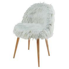 Chaise en fausse fourrure vert clair - Mauricette
