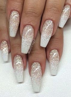 Sparkle Nails with white tips
