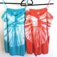 Lane Bryant Set of 2 Tie Dye Crochet Trim Tanks 3X This listing is for a set of 2 Lane Bryant Tie Dye Crochet Trim Tanks, each size 22/24. One is turquoise blue, one is flame orange--both have no pilling or stains. Adjustable length straps. Crochet Trim around neckline. ::: Bundle 3+ items from my closet and save 30% off when you use the app's Bundle feature! ::: No trades. Lane Bryant Tops Tank Tops