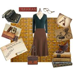 Librarian Chic by dathacurtis on Polyvore featuring Moon Collection, Cheap Monday, Naya, Madewell, Warby Parker, keys, librarian, bicycle, vintage and mary janes