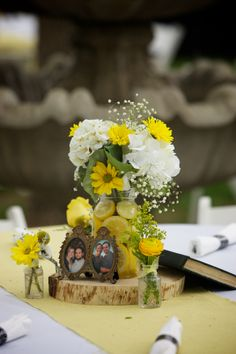 Jessica & Mike Wedding @GardensAtWestGreen #real #wedding #spring #green #yellow #gray #garden #centerpiece Photography by Winfield Little