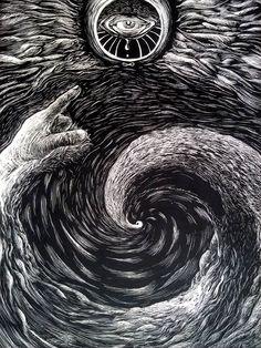 """""""The Witness"""" by Dyanko Randi  Scraperboard, 30,5x22,9cm (2014)"""