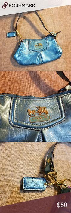 Vintage Mini Coach bag Teal/blue foil-type mini Coach bag Coach Bags Mini Bags