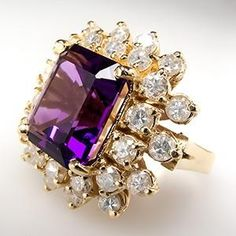 Diamond Cocktail Rings | Amethyst & Diamond Halo Cocktail Ring 14K Gold - EraGem by Gmomma