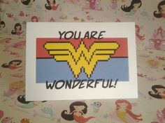 You Are Wonderful Card by PrincessMooGifts on Etsy You Are Wonderful, Greeting Cards, Unique Jewelry, Handmade Gifts, Vintage, Etsy, Decor, Kid Craft Gifts, You Are Awesome