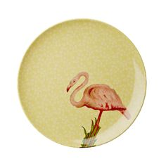 Melamine Side Plate with Yellow Flower and Flamingo Print
