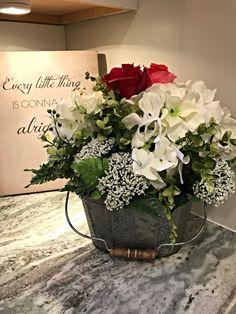 Spring Centerpiece, Spring Flower Arrangement, Spring Flowers, Rustic Centerpiece, Farmhouse Décor, Tin Planter, Hydrangeas, Roses, Spring Décor, Home Decor