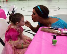 Morrisa getting her make up done by Jasmine @ Payton's birthday party, 2014