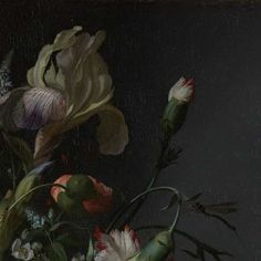 (3) Detail of Still Life with Flowers on a Marble Tabletop, Rachel Ruysch, Rijksmuseum. (check out how to access the full thing via the Rijksstudio - I understand it should be free to use)
