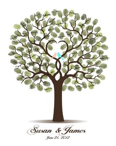 DIY Wedding Tree Guest Book - Printable PDF - Digital Fingerprint Signature Tree 11x14, 16x20, 17x22, 18x24,20x25 or 24x30 inches