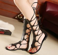 9a6a79cd7c30 Knee High Hollow Out Leather Gladiator Sandals