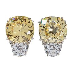 Faux Champagne Cushion Cut Diamond Earclips | 1stdibs.com #1DHoliday