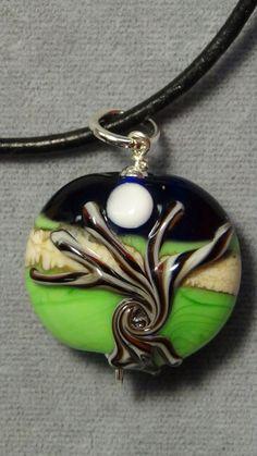 pendant dead fall tree of life moon  lampwork glass 1015 #Handmade #Pendant