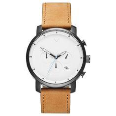 Chrono White Black/Tan Leather $135