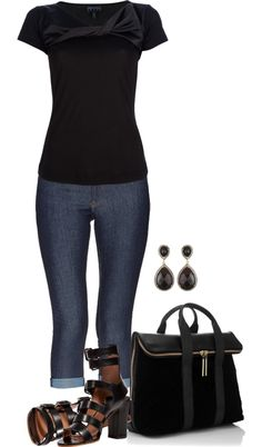 A fashion look from April 2013 featuring navy v neck t shirt, Genetic Denim and white topaz drop earrings. Browse and shop related looks. Fashion Wear, I Love Fashion, Passion For Fashion, Autumn Fashion, Fashion Outfits, Stylish Outfits, Cool Outfits, Summer Outfits, Complete Outfits