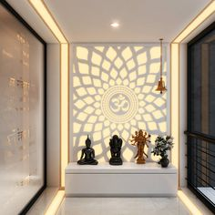 A hypnotic 'Aum' back lit panel in the Pooja room