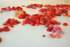 "Lisa Kellner, ""Im plant"", 2008-2012.  Silk, pigment, hundreds of hand formed, painted shapes installed on the floor."