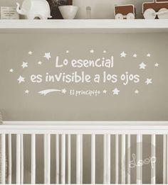 """VINILO """"Lo esencial es invisible a los ojos"""" Baby Boy Room Decor, Baby Boy Rooms, Baby Room, Valentine Day Crafts, Wall Quotes, Ideas Para, Nursery, Interior Design, Bedroom"""