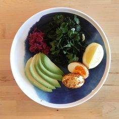 Before breakfast BGL 5.1 mmol  Soft Boiled Egg | Paprika & Chilli Dukkah | Garlic & Lemon Kale | Parsley | Avocado | Beetroot Sauerkraut  10g Carbs > 1 Unit by diabetic_diary