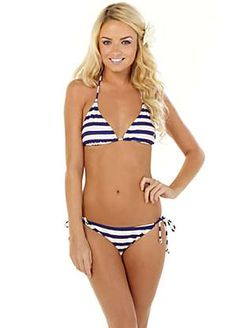 French Connection Blue Striped Triangle Bikini | Bikinis | Womens | Swimwear365