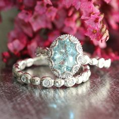 Floral Aquamarine Engagement Wedding Ring Set in 14k White Gold, 9x7mm Oval…