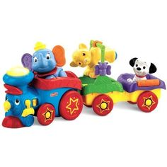Fisher-Price Disney Baby Amazing Animals Sing-Along Choo-Choo by Fisher-Price. $29.24. Amazon.com                Animals are amazing--especially when they're your baby's favorite Disney pals! Join Dumbo, Simba, and Lucky on an exciting Fisher-Price Disney Amazing Animals Baby Sing-Along Choo Choo adventure! More than 15 sing-along songs, tunes, and phrases play as your baby rolls along. The smoke stack lights up too! Shake Lucky for rattle sounds, and move Dumbo and Sim...