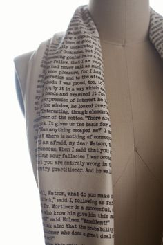 An excerpt from Sir Arthur Conan Doyle's classic Sherlock story The Hound of the Baskervilles screen-printed on a super soft, handmade infinity scarf.