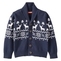 5f6cb3efb9ce8 Toddler Boys  Fair Isle Cardigan in Light Navy from Joe Fresh