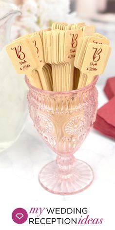 Wedding Reception Bar Idea - Use eco-friendly, disposable wooden 6 inch rectangle top drink stirrers personalized with choice of wedding design and up to 3 lines of custom print for attractive cocktail decorations you can use to dress up your wedding reception bar. Personalized drink stirrers can also be used to labeling wedding reception appetizers, desserts and candy bars. #weddingdrinks #weddingbar