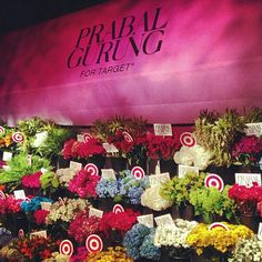 A step-and-repeat of live flowers at #PrabalForTarget launch in #NewYork. Photo by @Jim Schachterle Schachterle Shi