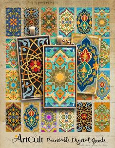 Moroccan Art, Turkish Art, Domino Crafts, Printable Images, Domino Jewelry, Futuristic Art, Art File, Arts And Crafts Projects, Molde