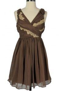Think Greek Pleated Chiffon Designer Dress by Minuet in Mocha