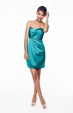 David's Bridal Strapless Satin Short Bridesmaid Dress with Pleating.  Style F15103 in Oasis blue.