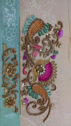 Excellent No Cost zardozi Embroidery Designs Thoughts Thank you for visiting side embroidering! Embroidery can be a soothing creative outlet to maintain y Zardosi Embroidery, Tambour Embroidery, Hand Work Embroidery, Indian Embroidery, Embroidery Fabric, Embroidery Suits Design, Bead Embroidery Patterns, Hand Embroidery Designs, Embroidery Stitches