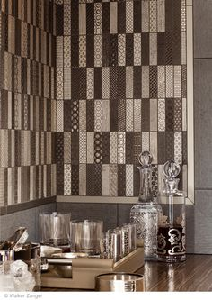 diva mosaic from walker zangers tracciato collection from accentuates a modern bathroom design - Mosaic Tile House 2015