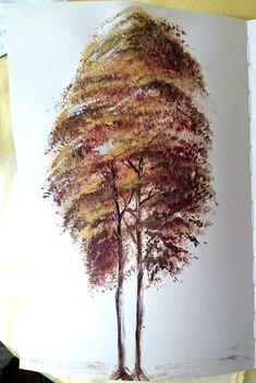 Autumn tree Acrylic on paper #autumn #fall #tree #paint #diy
