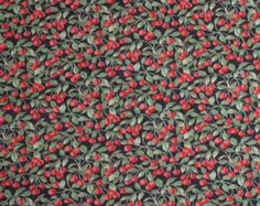 Cotton Fabric Red Cherries Black Background Sweet Calico Print  3/4 Yard  vintage 1980's Material
