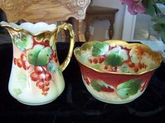 Limoges France JPL Hand Painted Cream and Sugar Bowl Pickard China  #Limoges :):)
