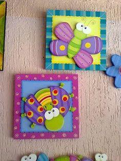REmariposa y vaquita san antonio Foam Crafts, Diy And Crafts, Crafts For Kids, Arts And Crafts, Paper Crafts, Country Wood Crafts, Country Art, Country Rose, Drawing For Kids