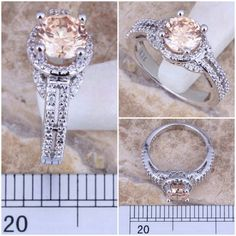 Champagne Morganite 925 Sterling Ring Beautiful, sparkly Morganite .925 Sterling Silver ring with CZ accents. Jewelry Rings