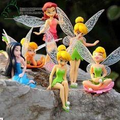 6pcs DIY Miniature Flying Flower Fairy Garden Landscaping Flower Ornaments Succulent Decoration Cartoon Gifts