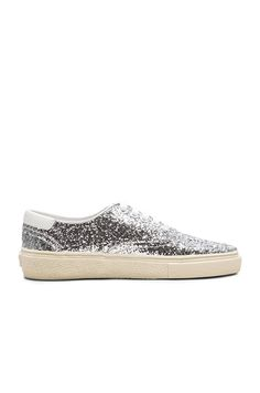 59c9c8f7dd3f Shop for Saint Laurent Skate Glitter Sneakers in Platinum at FWRD.