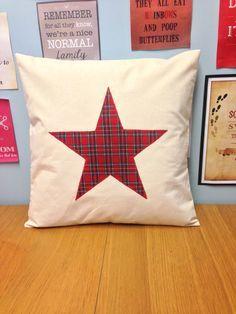 Star - Cream Cushion Pillow Cover Red Tartan Cotton Design Applique Rustic…