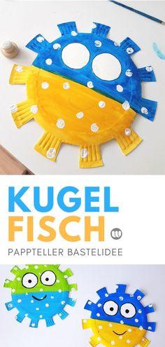Pappteller Kugefisch: Sommerdeko basteln mit Kindern #Sommer #Unterwasserwelt #Ozean #Aquarium #Kugelfisch #Fisch #DIY #Wanddeko #Pappteller #basteln #Deko #Kindergarten #KITA #Kunst #einfach #Bastelanleitung #PaperPlate #kidscraft #upcycling #Sommerdeko
